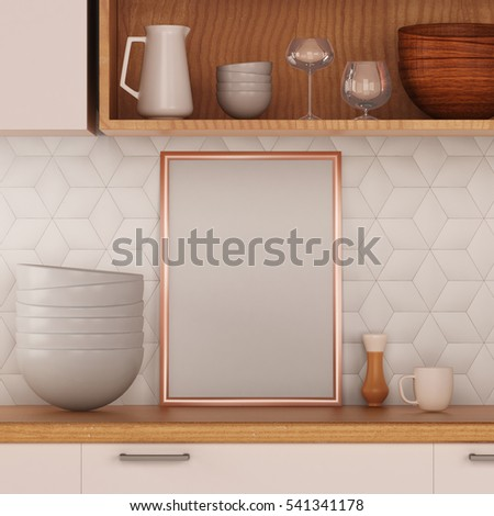 mock up poster in a frame in the kitchen hipster style. 3d illustration. 3d render #541341178