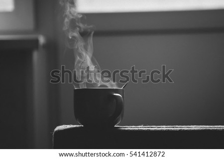pairs of a large cup of coffee. black and white photography #541412872