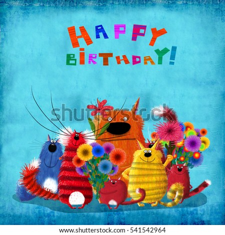 A cute birthday card: some colorful friends cats holding beautiful flowers standing on the blue background.
