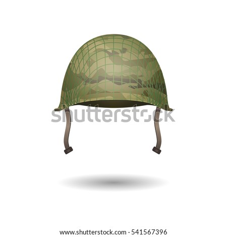 Design of military modern helmet with camouflage patterns. 3d projection lines, new uniform development. Vector illustration. Protective hat. Army headwear isolated on white. Editable element