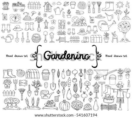 Vector set with hand drawn isolated doodles on the  theme of garden, garden tools, agriculture, equipment, harvest. Symbols of gardening on white background. Sketches for use in design