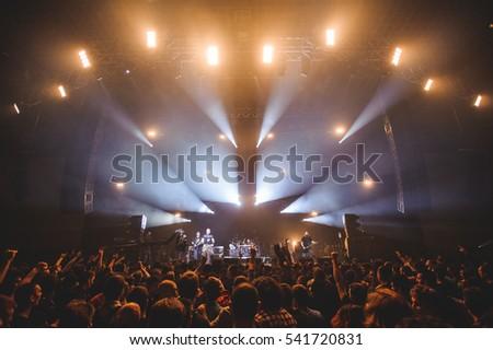 Novi Sad, Serbia - December 12th: Punk band Mortal Kombat performing on Koncert Godine 2015, in Novi Sad, Serbia #541720831