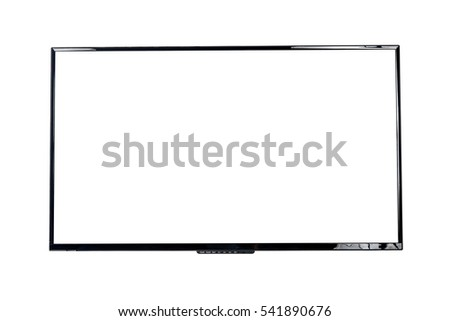 Front view of modern blank high definition LCD flat screen TV monitor, isolated on white background #541890676