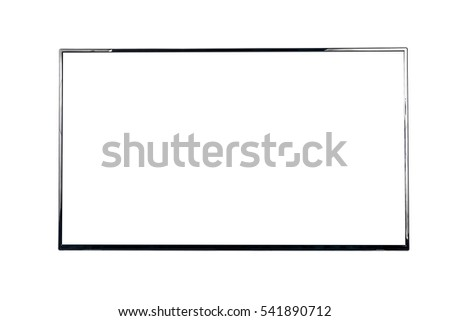 Front view of modern blank high definition LCD flat screen TV monitor, isolated on white background #541890712