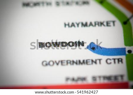 Bowdoin Station. Boston Metro map. #541962427