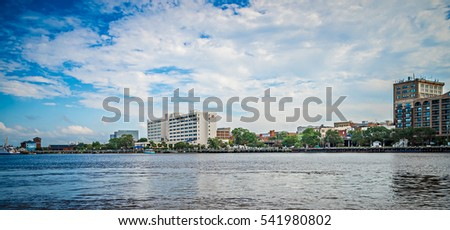 View of Wilmington North Carolina from across the river #541980802