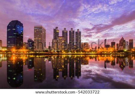 Twilight Benjakiti Park in Bangkok, Thailand #542033722
