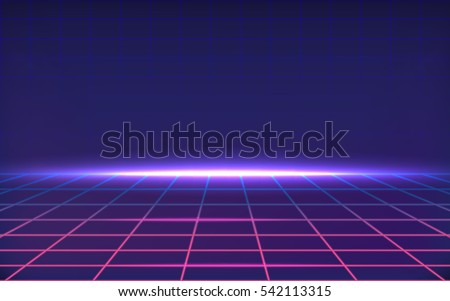 Dark abstract background made in 80s style. Abstract background with neon grids in vintage style. Vector illustration for your graphic design.