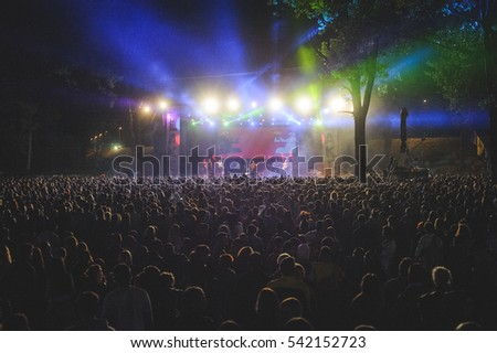 Niksic, Montenegro - August 14th: Manu Chao La Ventura performing at Lake Fest 2016 on august 14th 2016 at Krupac lake, Niksic, Montenegro #542152723