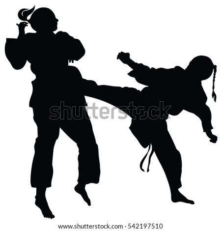 Silhouette of athletes involved in martial arts sparring- vector #542197510