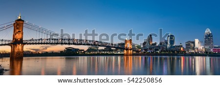 John A. Roebling Suspension Bridge and Cincinnati skyline at night from across the Ohio River