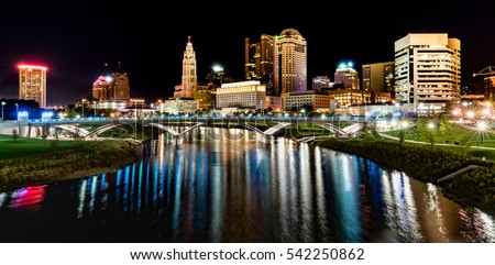Columbus, Ohio night skyline from the the Main Street Bridge