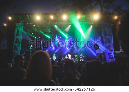 Niksic, Montenegro - August 14th: Punk band Pankreas performing at Lake Fest 2016 on august 14th 2016 at Krupac lake, Niksic, Montenegro #542257126
