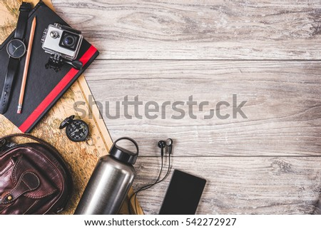 Picture of accessories on wooden background