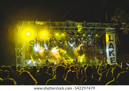 Niksic, Montenegro - August 13th: Punk band DST performing at Lake Fest 2016 on august 13th 2016 at Krupac lake, Niksic, Montenegro #542297479