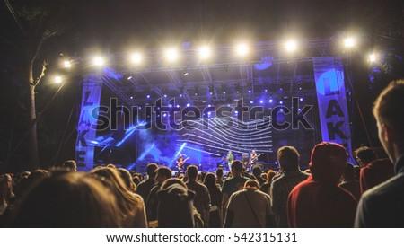 Niksic, Montenegro - August 12th: Croatian rock band MORT performing at Lake Fest 2016 on august 12th 2016 at Krupac lake, Niksic, Montenegro #542315131