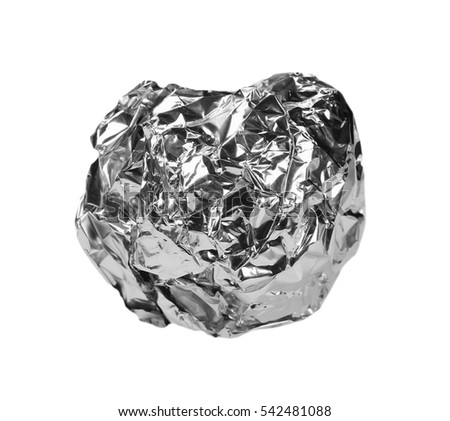 crumpled ball of aluminum foil isolated na white with clipping path #542481088