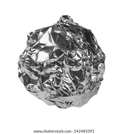 crumpled ball of aluminum foil isolated na white with clipping path #542481091