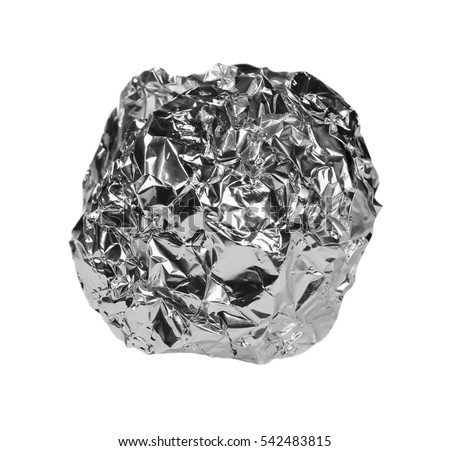 crumpled ball of aluminum foil isolated on white with clipping path #542483815