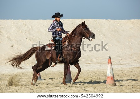 Manama, Bahrain - December 23, 2016: Cowboy show in a beach side in Bahrain. #542504992