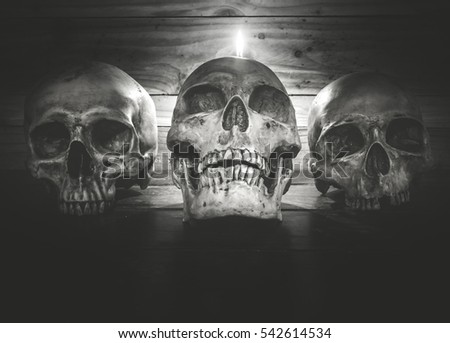 Still life with group of human skull and candle light on wooden background