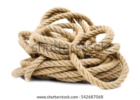 Rope closeup on white background isolated Royalty-Free Stock Photo #542687068