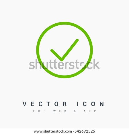 Tick isolated linear icon for websites minimalistic flat design