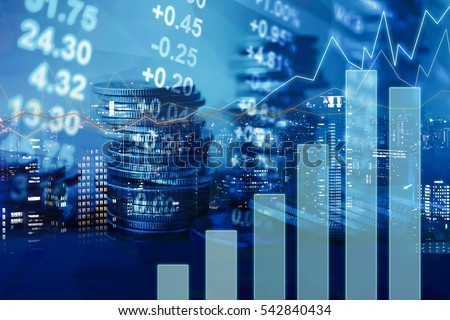 Double exposure of city, graph, stock display and money for finance and business concept Royalty-Free Stock Photo #542840434