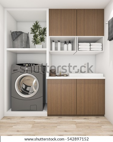 3d rendering wood laundry room with washing machine #542897152