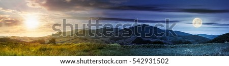 Day and night concept of summer landscape panoramic image of rural fields in mountains under cloudy sky