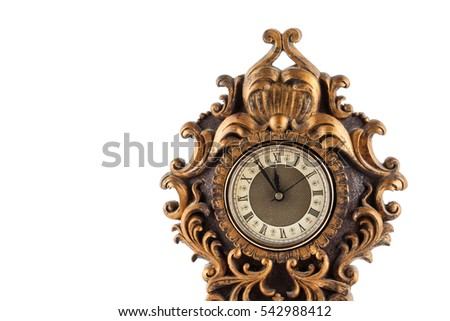 Old vintage clock isolated on white background #542988412