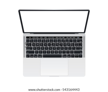 Isolated Apple MacBook Pro notebook computer mockup with keyboard and touch bar music key #543164443