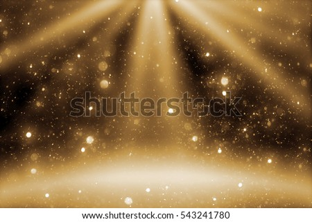 Stage light and goldenr glitter lights on floor. Abstract Christmas golden  festive background for display your product. Spotlight realistic ray Royalty-Free Stock Photo #543241780