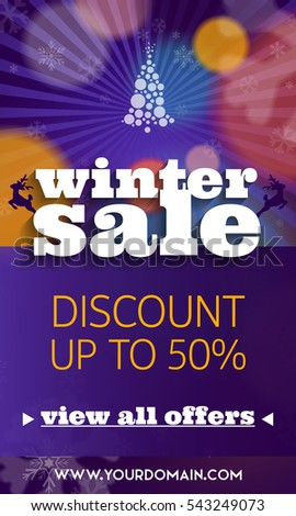 Winter sale colorful banner with discount and special offer #543249073