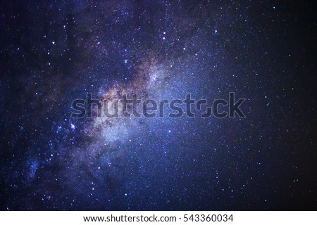 Close-up of Milky way galaxy with stars and space dust in the universe, Long exposure photograph, with grain. Royalty-Free Stock Photo #543360034