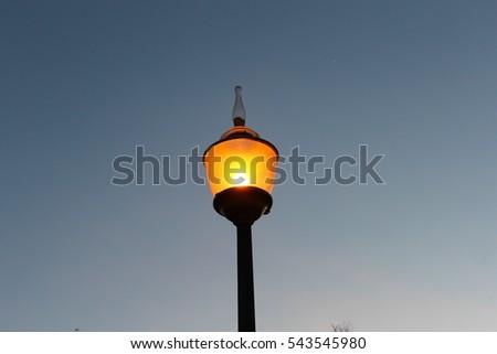 Public lighting in the evening. #543545980