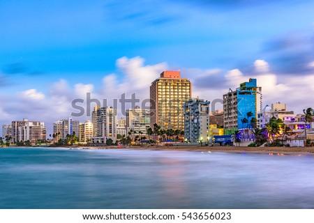 San Juan, Puerto Rico resort skyline on Condado Beach. Royalty-Free Stock Photo #543656023