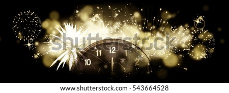 new Year's at midnight - Old clock with stars snowflakes and holiday lights #543664528