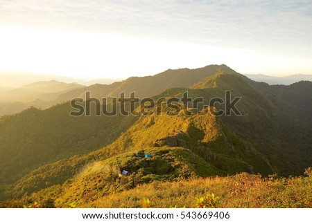 view on top mountain in Doi Phu Kha National Park, Phu Wae, Nan Province,Thailand, low key with soft focus  #543669406