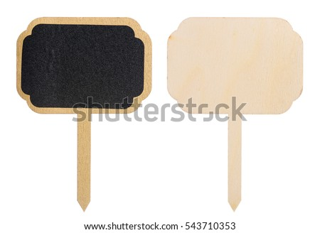 Golden painted wooden information label sign with black chalkboard empty place for text, front and back side, isolated on white background