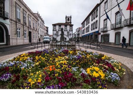 City Hall center in Ponta Delgada, Azores, Portugal. #543810436