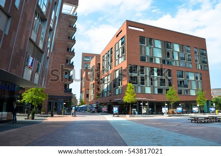HAMBURG, GERMANY - JUNE 15, 2016: View of the city architecture on June 15, 2016. #543817021