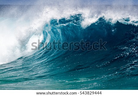 A Perfect big breaking Ocean barrel wave on the north shore of Oahu Hawaii #543829444