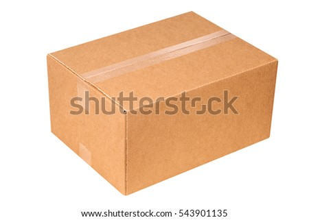 Closed cardboard box taped up and isolated on white background #543901135