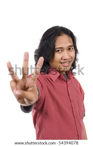 Long hair man give number three by hand gesture isolated on white background #54394078