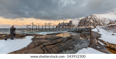 Winter panoramic view to Steinfjord on Senja island at sunset - Troms county, Norway (long exposure) #543952300