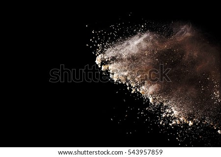 powder explosion on black background. Colored cloud. Colorful dust explode. Paint Holi. #543957859