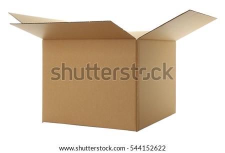 Opened cartoon box isolated on white #544152622