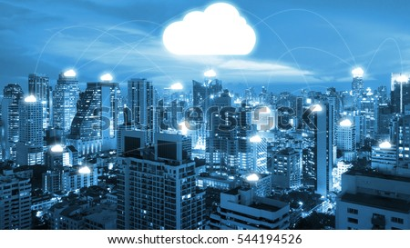 Night cityscape and internet network connection cloud technology for communication , business and technology concept #544194526