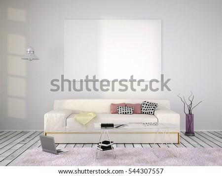 3d illustration of mockup interior #544307557